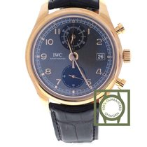 IWC Portugieser Chronograph 18k Pink Gold Grey Dial Date
