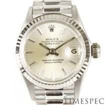 Rolex Oro blanco Automático Plata Sin cifras 25mm usados Oyster Perpetual Lady Date