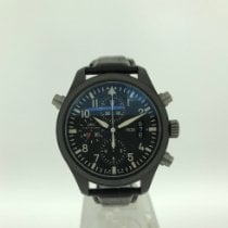 IWC Pilot Double Chronograph pre-owned 44mm Black Chronograph Double chronograph Date Leather