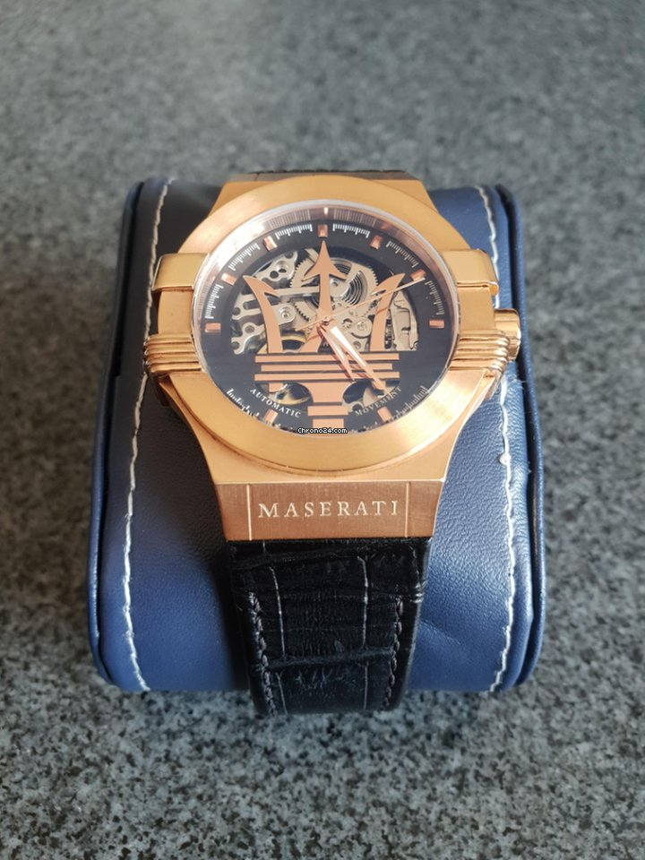 And Dial Auto Strap Maserati Potenza Gold Black Leather Rose y0wmN8Ovn