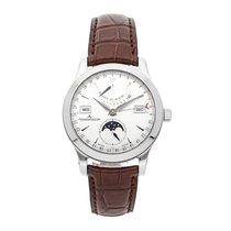 Jaeger-LeCoultre Master Calendar pre-owned 40.5mm Silver Moon phase Date Month Crocodile skin