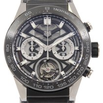 TAG Heuer Carrera Heuer-02T pre-owned 45mm Black Chronograph