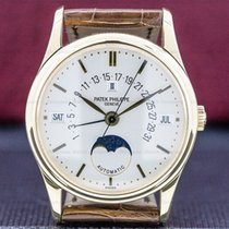 Patek Philippe Perpetual Calendar pre-owned 36mm Silver Moon phase Flyback Date Month Year 4-year calendar Perpetual calendar Crocodile skin