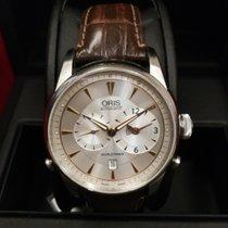 Oris Artelier Worldtimer pre-owned White Date GMT Leather