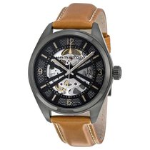 Hamilton Khaki Field Skeleton Steel 42mm Transparent Arabic numerals