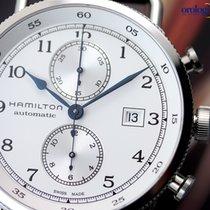 Hamilton Men's Khaki Navy Pioneer Auto Chrono 44mm Steel on...