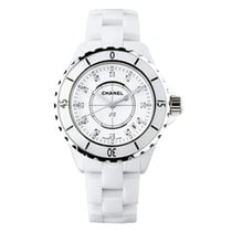 Chanel Ceramic Quartz White No numerals 33mm new J12