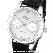 Glashütte Original Senator Zeigerdatum Stahl 40mm Silber