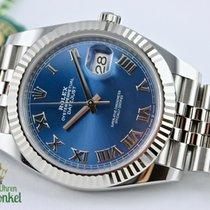 Rolex Datejust Staal 41mm Blauw Romeins