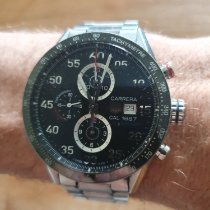 TAG Heuer Carrera Calibre 1887 pre-owned 43mm Black Chronograph Date Tachymeter Steel