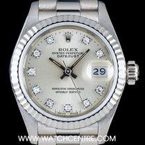 Rolex 18k White Gold Silver Diamond Dial Datejust Ladies 69179
