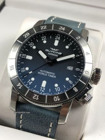 Glycine Gl0057 Airman Purist Automatic Blue Dial Men S 44mm Stainless