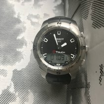Tissot T-Touch II rabljen Crn Kronograf Datum, nadnevak Budilica GMT Kaučuk