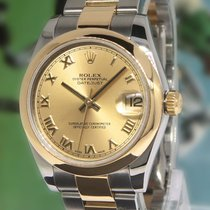 Rolex Datejust 18k Yellow Gold Stainless Steel Ladies Midsize...