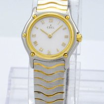 """Ebel """"Classic Wave"""" Watch (1057901) Steel w/ 18k..."""