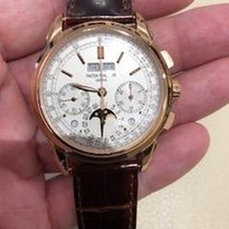 Patek Philippe Růžové zlato Ruční natahování Stříbrná Bez čísel 41mm nové Perpetual Calendar Chronograph