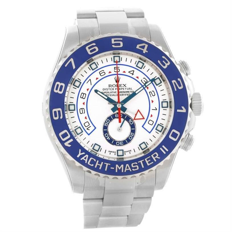 Rolex Yachtmaster Ii Stainless Steel Blue Bezel Watch 116680 Unworn
