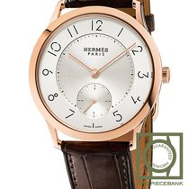 Hermès Rose gold Automatic Silver Arabic numerals 39.5mm new Slim d'Hermès