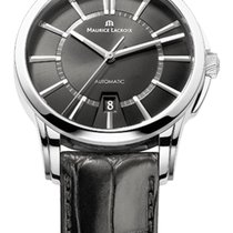 Maurice Lacroix Date Steel Case, Black Dial, Silver Hands and...