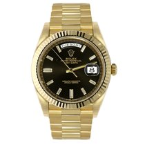 Rolex DAY-DATE 40mm 18K Yellow Gold President Black Watch 228238