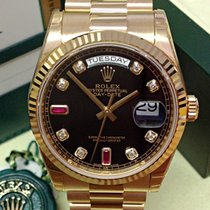 Rolex Day-Date Yellow Gold Diamond Ruby Dial - Box & Papers 2017