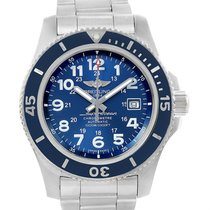 Breitling Superocean Ii 44 Gun Blue Dial Steel Mens Watch A17392