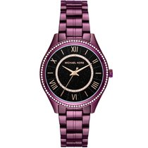 Michael Kors Aço Quartzo Michael Kors Black Plum Plated Steel Lauryn MK3724 novo
