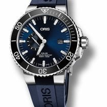 Oris Aquis Small Second pre-owned 45.5mm Blue Date Rubber