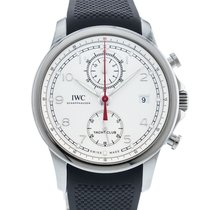 IWC Portuguese Yacht Club Chronograph pre-owned 43.5mm Silver Date Rubber