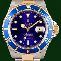 Rolex Submariner Date 16613 Gold Steel Blue Dial Box&Papers