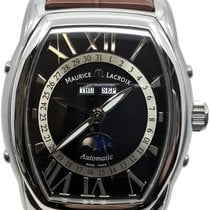 Maurice Lacroix Masterpiece Phases de Lune pre-owned 39mm Black Moon phase Date Month Leather