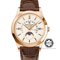 Patek Philippe Perpetual Calendar Rose gold 39.5mm Silver No numerals United States of America, New York, NEW YORK
