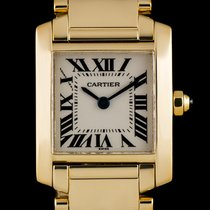 Cartier 18k Yellow Gold Silver Dial Tank Francaise Ladies...