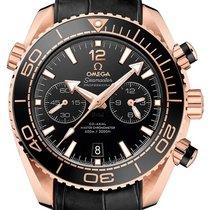 Omega Roségold Automatik Schwarz 45.5mm neu Seamaster Planet Ocean Chronograph