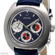 Enicar Chronograph 40mm Handaufzug 1970 gebraucht Blau
