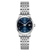 Longines Record Steel 30mm Blue Arabic numerals
