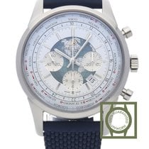 Breitling Transocean Chronograph Unitime Steel Blue Rubber Strap