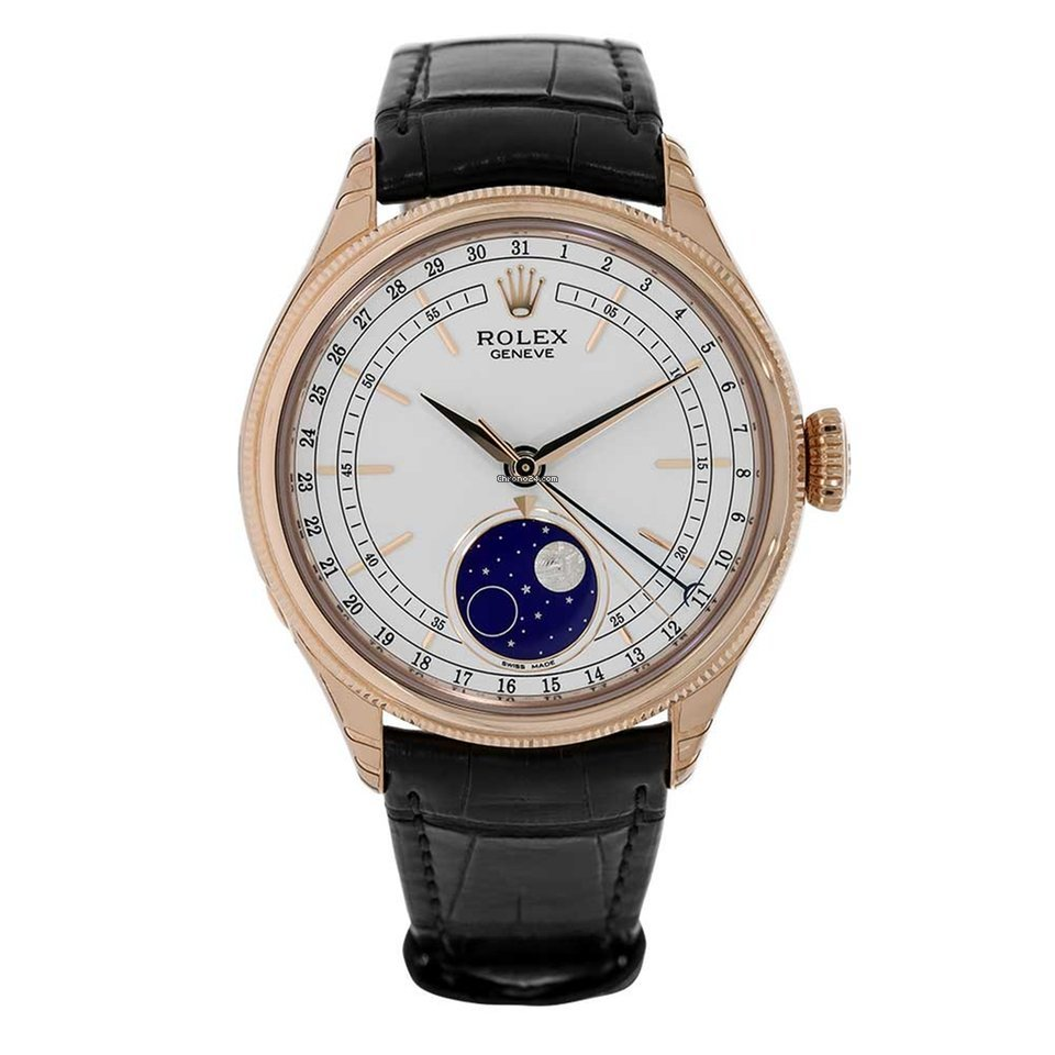 Rolex Cellini Moonphase Rose Gold 39mm White Dial Watch 50535