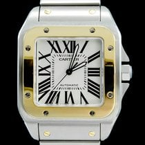 Cartier Santos 100 Gold/Stahl 41mm Silber Römisch
