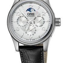 Oris Big Crown Complication, Day, Moon Phase, Silver, Lth