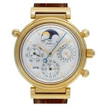 IWC Yellow gold Automatic Silver No numerals 37mm pre-owned Da Vinci Perpetual Calendar