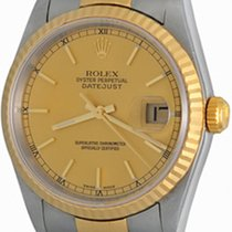 Rolex Datejust Staal 35mm Champagne Geen cijfers