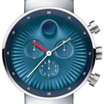 Movado Edge Staal 42mm Blauw Arabisch