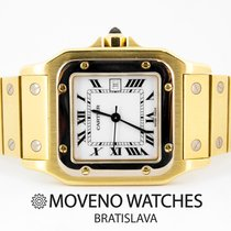 Cartier Yellow gold Automatic White Roman numerals 29mm pre-owned Santos Galbée