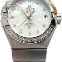1189b4f050d Omega Constellation Ladies pre-owned 27mm Mother of pearl Date Steel