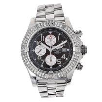 Breitling Super Avenger Steel Chronograph Watch Diamond Bezel