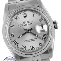 Rolex DateJust 36mm Silver Gray Roman 16234 Stainless Gold...