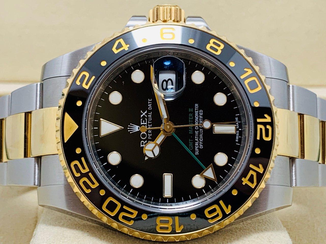 Rolex Ii 116713ln No Steel Polished Gold Gmt Master N8nXwk0OP