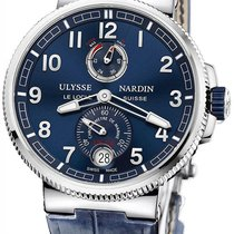 Ulysse Nardin Steel Automatic Blue Arabic numerals 43mm pre-owned Marine Chronometer Manufacture