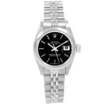 Rolex Date Black Dial Oyster Bracelet Steel Ladies Watch 69160